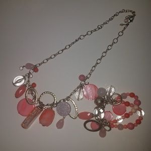 Peach pink necklace and bracelet